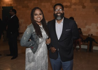 """LOS ANGELES, CA - AUGUST 16: Ava Duvernay and moderator Jamil Smith at the Ava Duvernay Hosted Special Screening of the Blumhouse film """"Don't Let Go"""" at the Amanda Theater at Array Creative Campus on August 16, 2019 in Los Angeles, California. (Photo by Scott Kirkland/Blumhouse/PictureGroup)"""