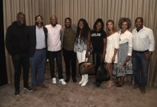 """LOS ANGELES, CA - AUGUST 16: Akin Omotoso, Jamil Smith, Charles King, David Oyelowo, Stacey King, Edwina Findley, Amber Rasberry, Debra Langford, and Dwayne Johnson Cochran at the Ava Duvernay Hosted Special Screening of the Blumhouse film """"Don't Let Go"""" at the Amanda Theater at Array Creative Campus on August 16, 2019 in Los Angeles, California. (Photo by Scott Kirkland/Blumhouse/PictureGroup)"""