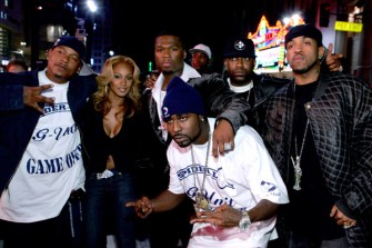 "Curtis ""50 Cent"" Jackson (center) and guests"