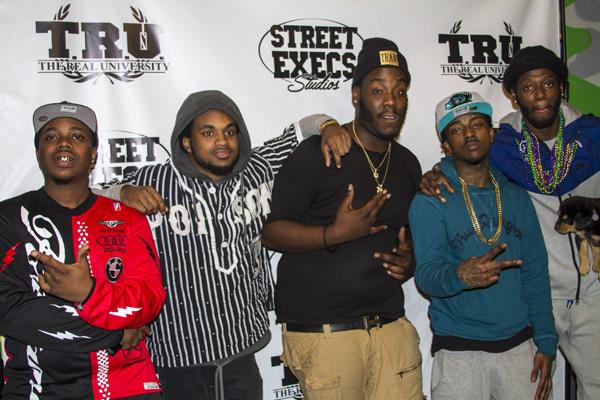 (L to R): Chill Go Hard (Street Execs Producer), Ali (of Travis Porter), Fresh Jones (Street Execs Producer), Strap (of Travis Porter) and Quez (of Travis Porter) at the Street Execs Studios Media Appreciation Day