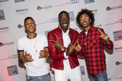 "Reneard with Rap Duo TK N Cash at the ""Confessions of A Virgo"" Album Release Party at Audi Atlanta"