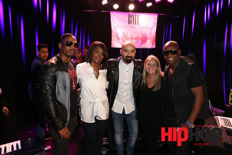 """LOS ANGELES, CA - FEBRUARY 13:  (L-R) Producer and TV Personality Stevie J, BMI Vice President Catherine Brewton, Songwriter Bilal 'The Chef"""" Hajji, Songwriter Liz Rose and Producer Jerry """"Wonda"""" Duplessis pose for a photo on stage at BMI's How I Wrote That Song Panel at Roxy on February 13, 2016 in Los Angeles, California.  (Photo by Joe Scarnici/Getty Images for BMI) *** Local Caption *** Stevie J; Catherine Brewton; Bilal """"The Chef"""" Hajji; Liz Rose; Jerry """"Wonda"""" Duplessis"""
