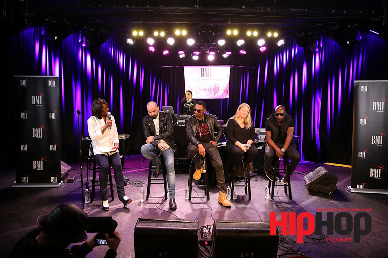 """LOS ANGELES, CA - FEBRUARY 13:  (L-R) BMI Vice President Catherine Brewton,  Songwriter Bilal 'The Chef"""" Hajji, Producer and TV Personality Stevie J, Songwriter Liz Rose and Producer Jerry """"Wonda"""" Duplessis attend BMI's How I Wrote That Song Panel at Roxy on February 13, 2016 in Los Angeles, California.  (Photo by Joe Scarnici/Getty Images for BMI) *** Local Caption *** Catherine Brewton; Bilal """"The Chef"""" Hajji; Stevie J; Liz Rose; Jerry """"Wonda"""" Duplessis"""