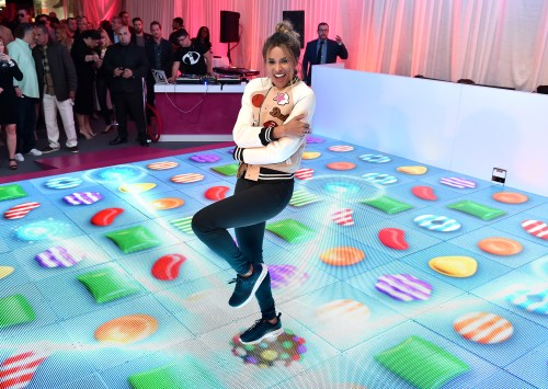 "Ciara joins King Digital Entertainment at the Primary Wave Pre-Grammy party to unveil a one-of-a-kind interactive ""jelly"" dance floor to celebrate the launch of Candy Crush Jelly Saga on Sunday, Feb. 14, 2016, in Los Angeles. (Photo by Jordan Strauss/Invision for Ketchum (New York)/AP Images)"