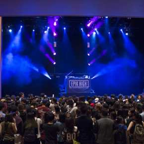 Epik High's stage inside the Vogue Theatre in Vancouver