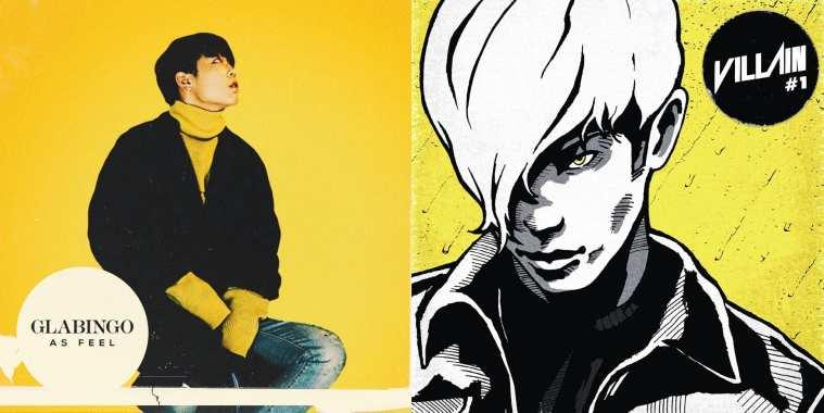 album covers of GLABINGO and Villain's debut singles