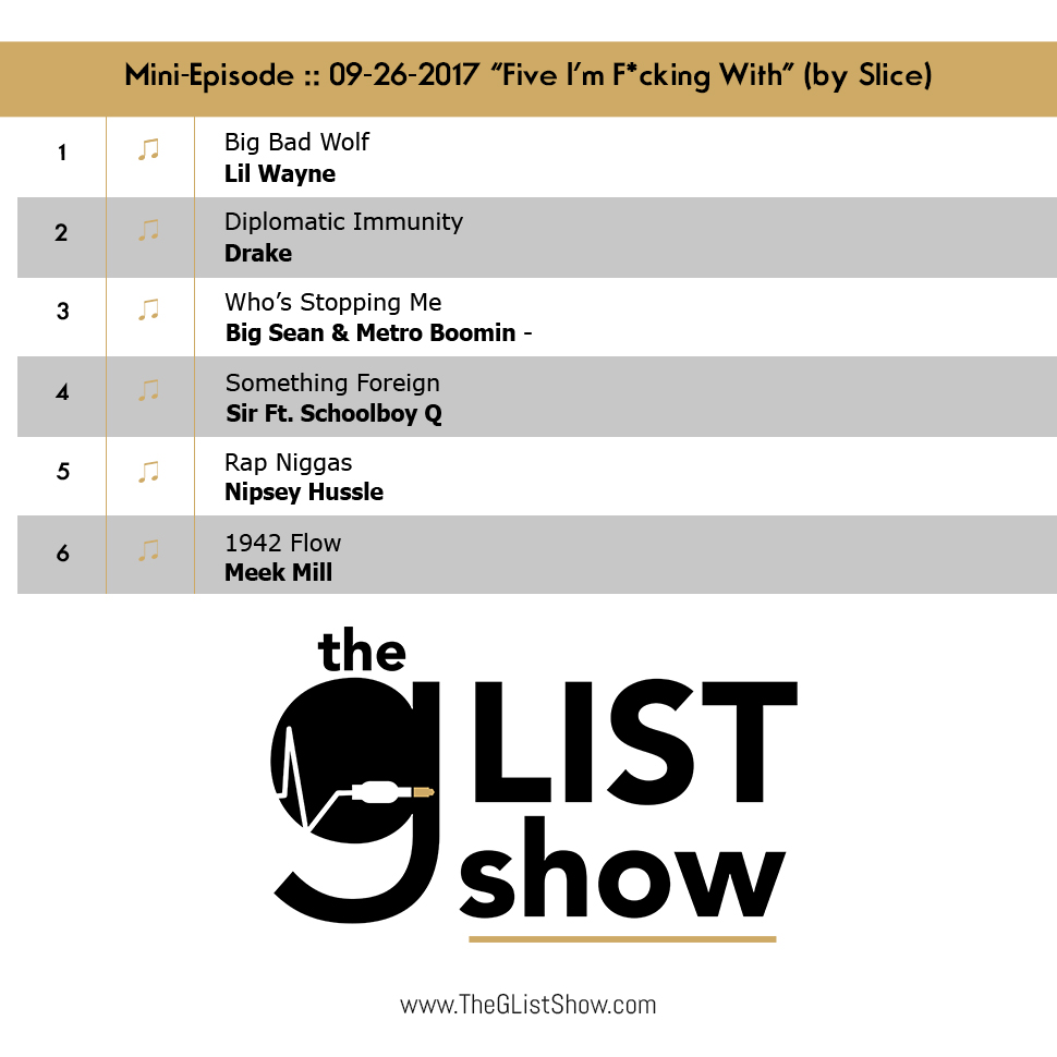 EP: 04 - The G-List Show - Mini-Episode :: 01-24-2018 – Five I'm Fucking With (by Jimbo Slice) (@TheGListShow)