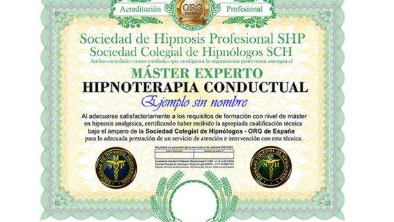 título máster experto en hipnosis conductual