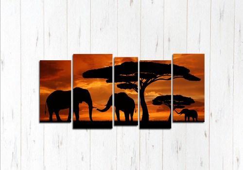 Модульная картина Слоны на закате
