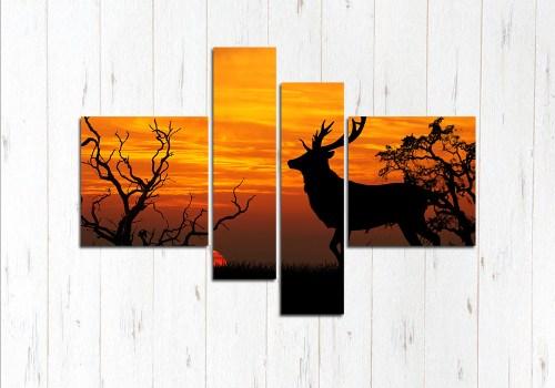 Модульная картина Зверь на закате