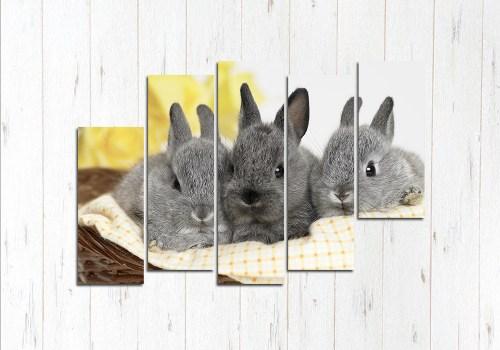 Модульная картина Милые кролики