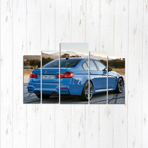 Модульная картина BMW 3 вид сзади