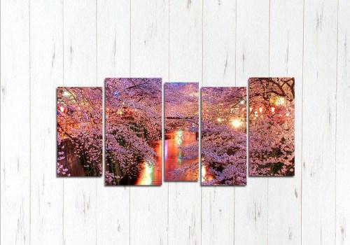 Модульная картина Розовая река