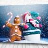 Постер Снеговик с печенькой
