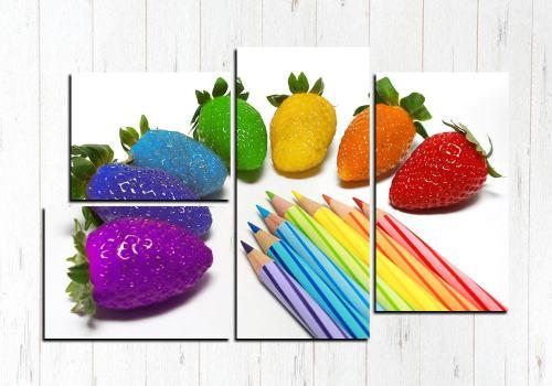 Модульная картина Цветная клубничка