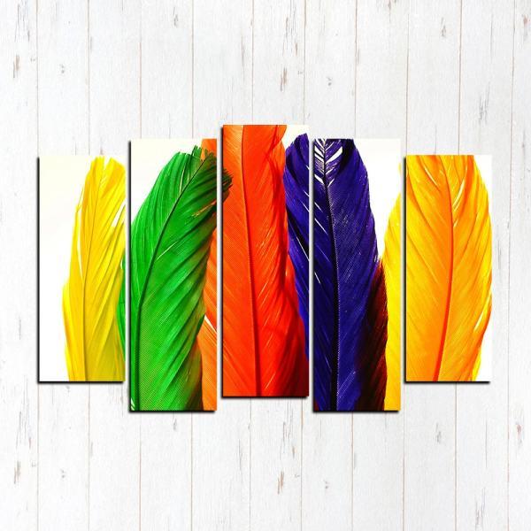 Модульная картина Цветные перья