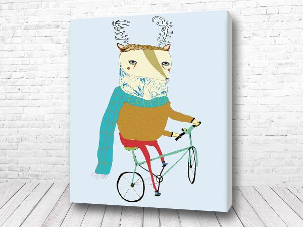 Постер Олень на велосипеде