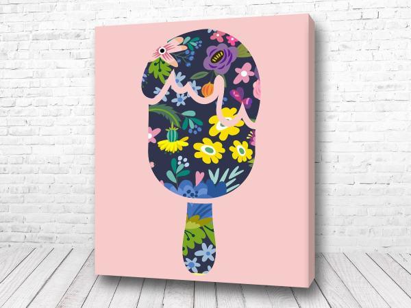 Постер Цветочки на розовом фоне