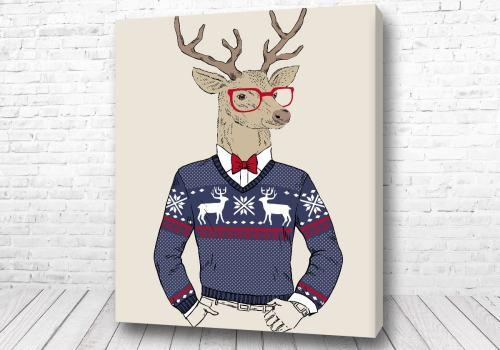 Постер Арт лось в свитере