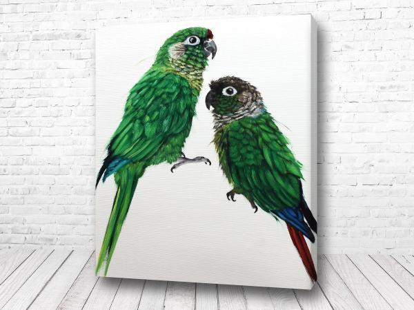 Постер Два зелёных попугая