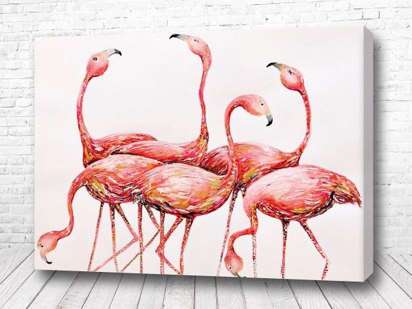 Постер Шесть фламинго