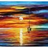 Картина парусник на закате