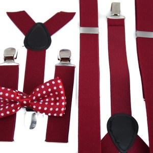 Rode bretels voor kinderen met een rood vlinderstrikje in een pakket met een rode bretels voor volwassenen.