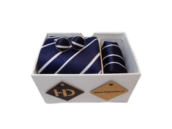 blauw wit gestreepte set stropdas manchetknopen pochet