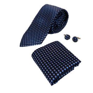 lichtblauw donkerblauw set stropdas manchetknopen pochet