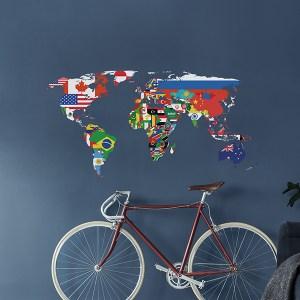 muursticker wereldkaart vlaggen