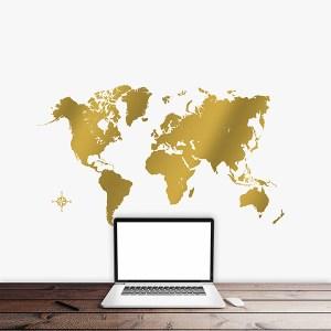 muursticker wereldkaart goud