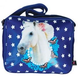 schooltas paard blauw