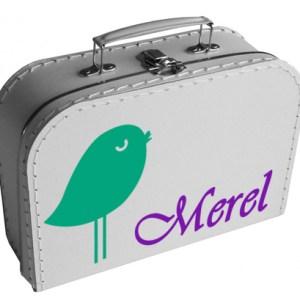 koffertje met vogeltje en naam