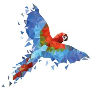 muursticker diamond papegaai