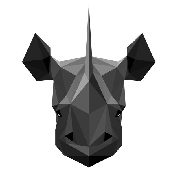 muursticker diamond neushoorn