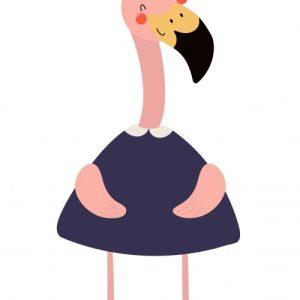 muursticker pencil flamingo
