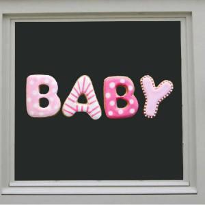 raamsticker baby roze