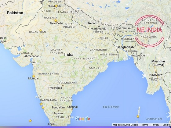 Where is NE India on the map