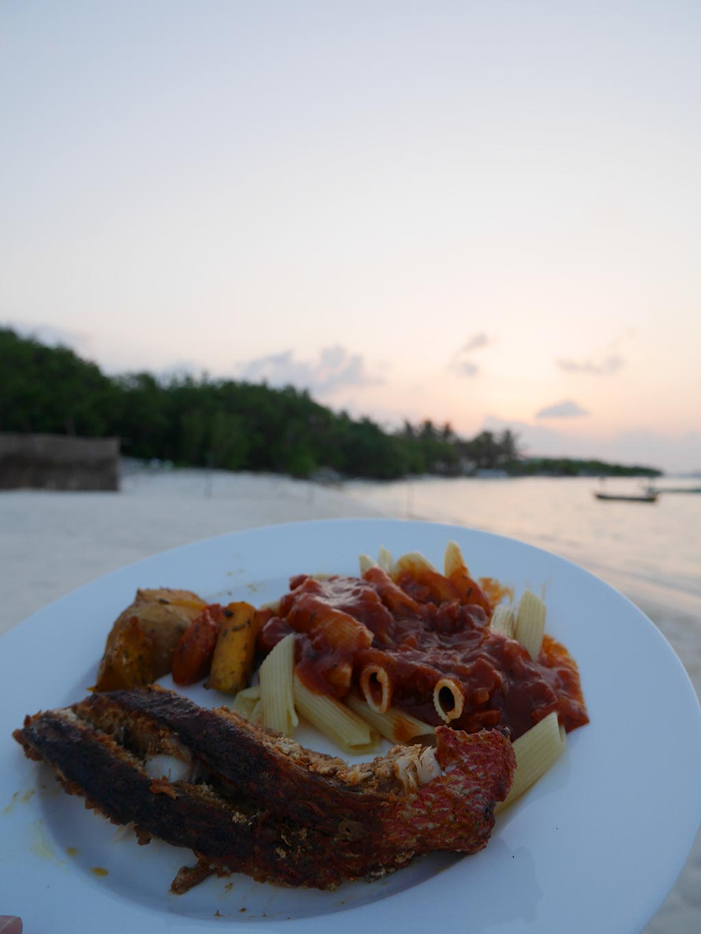 sunset dinner, bikini beach, Gaafaru, Maldives