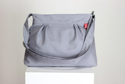 grey canvas purse bag