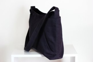 dark gray hobo bag