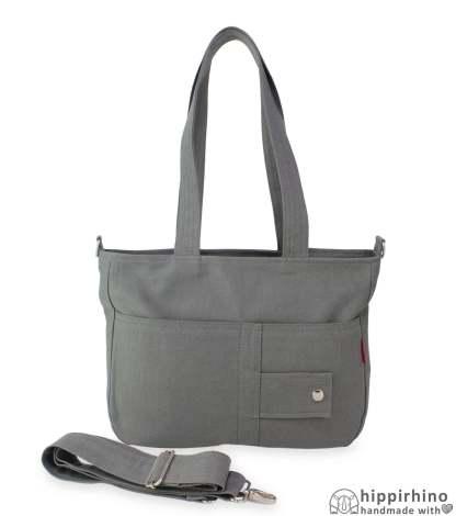 Grey Canvas Shoulder Bag