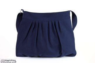 Dark Navy Blue Pleated Canvas Bag
