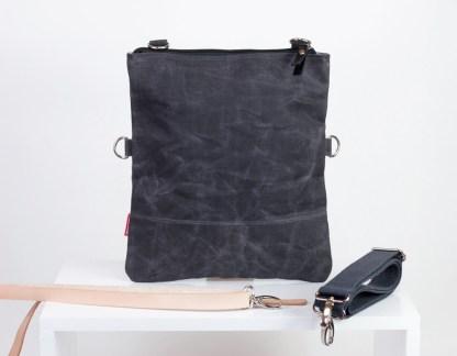 Waxed fold over tote bag