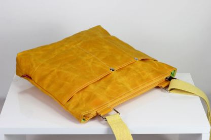 yellow waxed tote bag