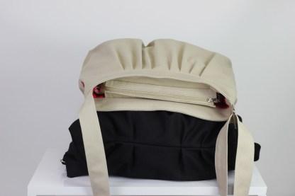 Black and Beige canvas purse bag