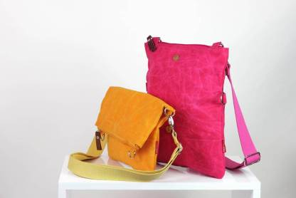 pink waxed foldover bag