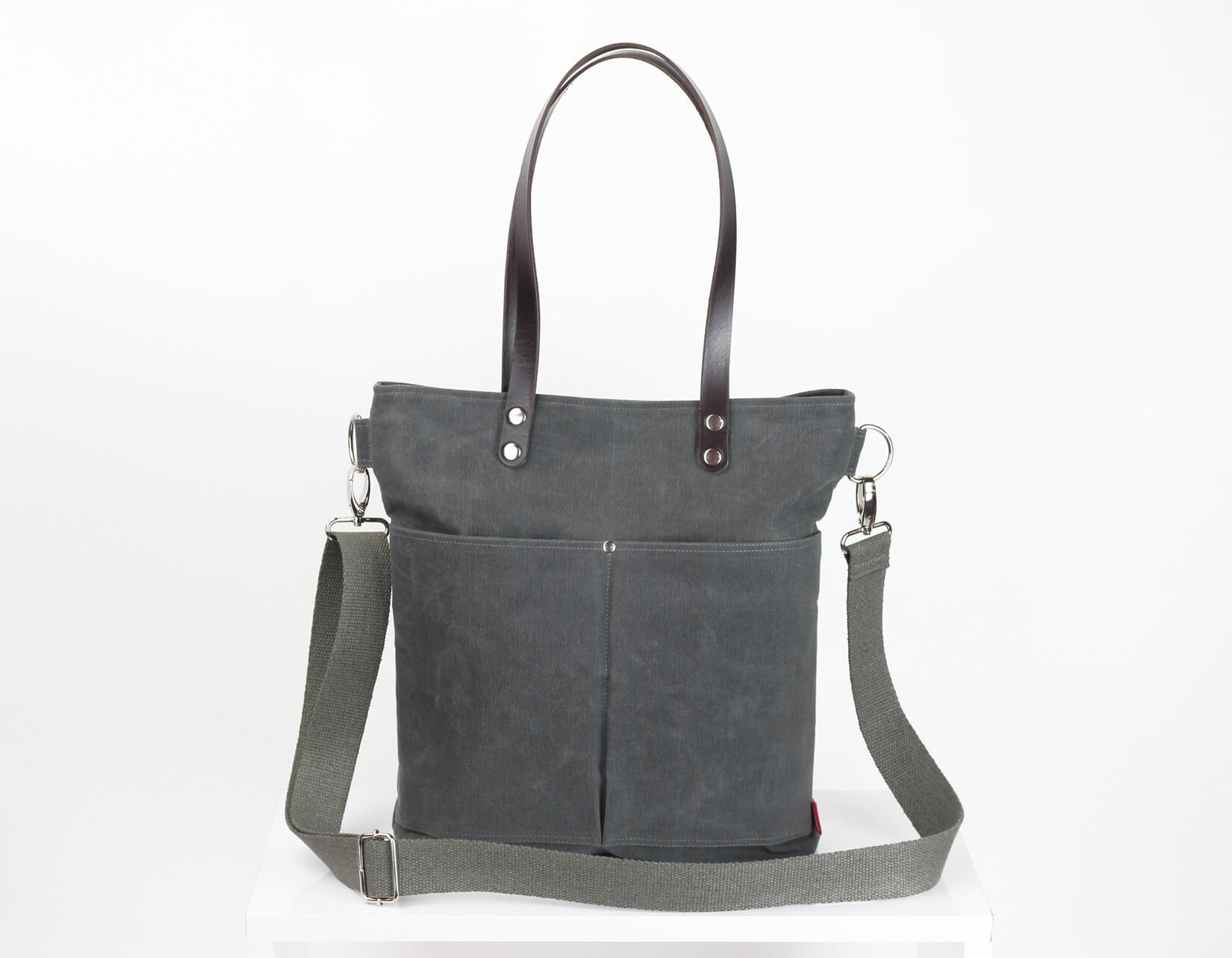b7b7594fa799 Waxed tote bag with leather shoulder tote bag