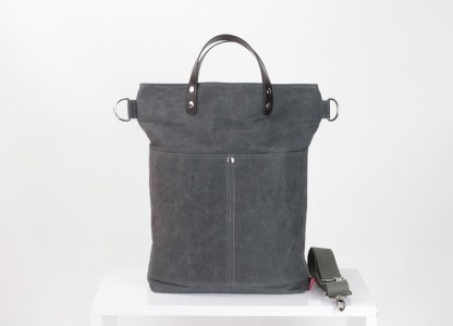 waxed tote bag leather handle