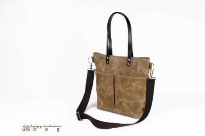 Waxed Tote Bag with Leather Strap